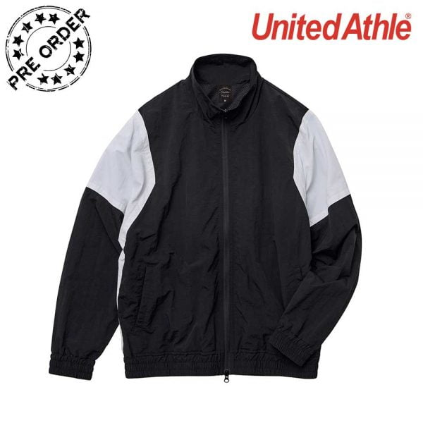 United Athle  7210-01 Nylon Waterproof Jacket with Mesh Lining - Black/White 2001